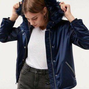 M Women Express Blue Puffer Faux Fur Hooded Jacket